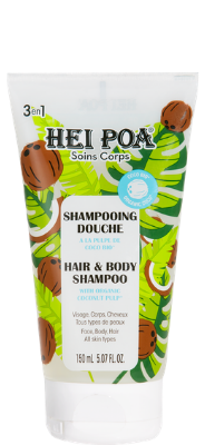Hair and body shampoo with organic coconut pulp.
